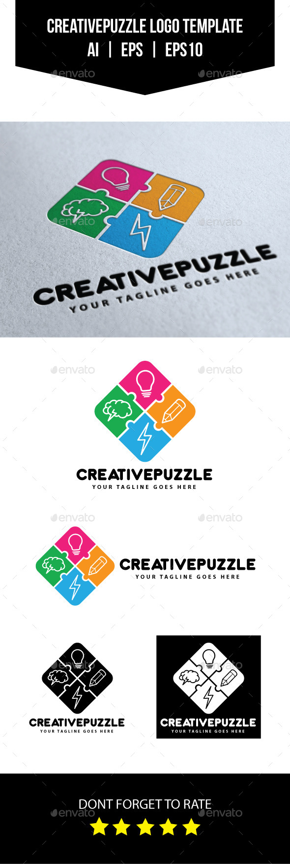 Creative Puzzle Logo Template - Objects Logo Templates