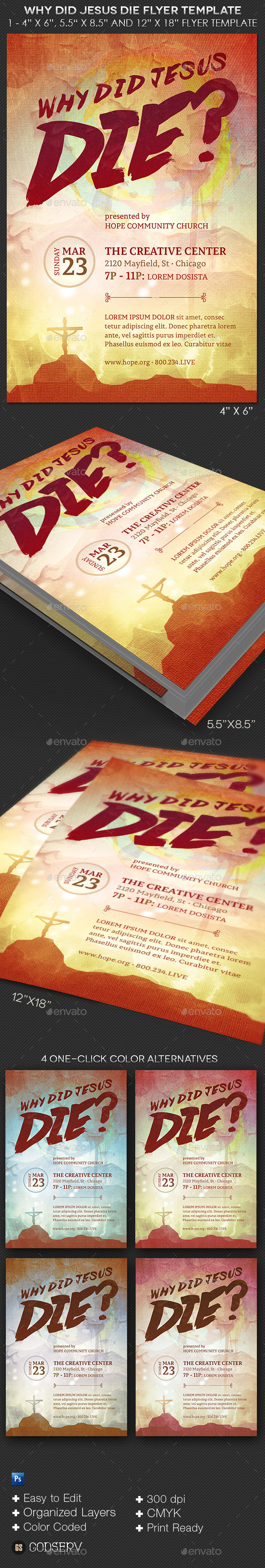 Why Jesus Die Church Flyer Template - Church Flyers