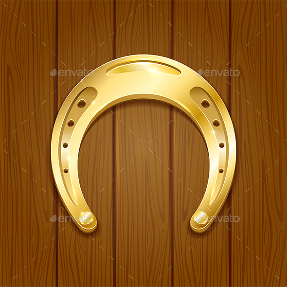 Horseshoe on Wooden Background - Man-made Objects Objects