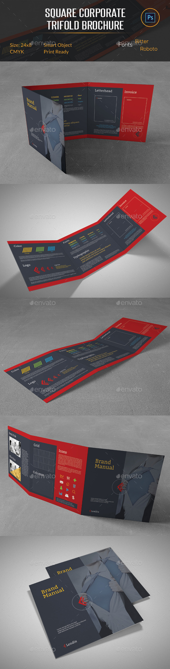 Brand Manual Square Trifold Brochure - Corporate Brochures