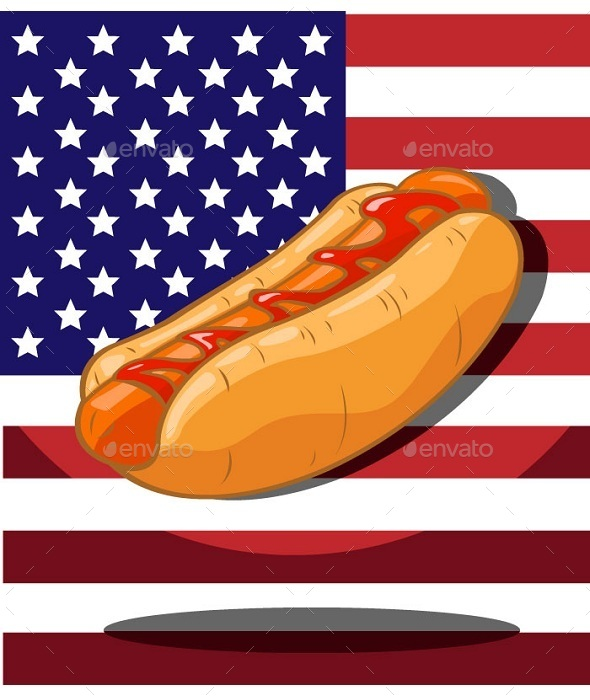 Hot Dog. America Flag Background - Food Objects
