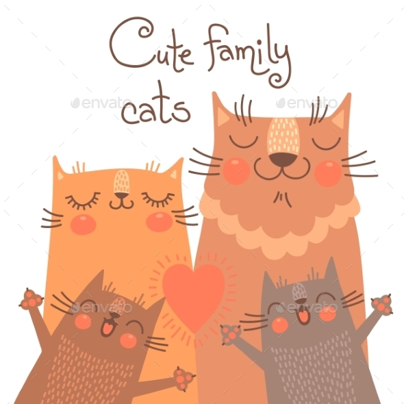 Cats Family  - Animals Characters