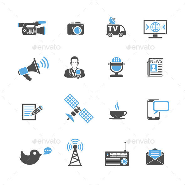 Media and News Icons Set - Media Technology