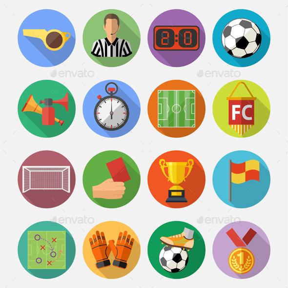 Soccer Flat Icon Set - Sports/Activity Conceptual