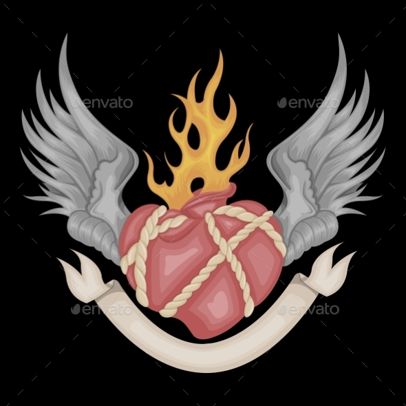 Heart and Wings  - Decorative Symbols Decorative