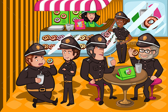 Police Officers in a Donuts Store - People Characters