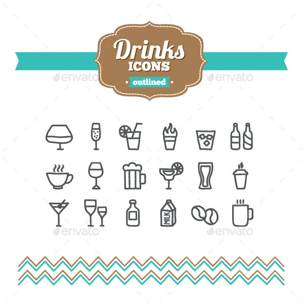 Hand Drawn Drinks Icons - Food Objects