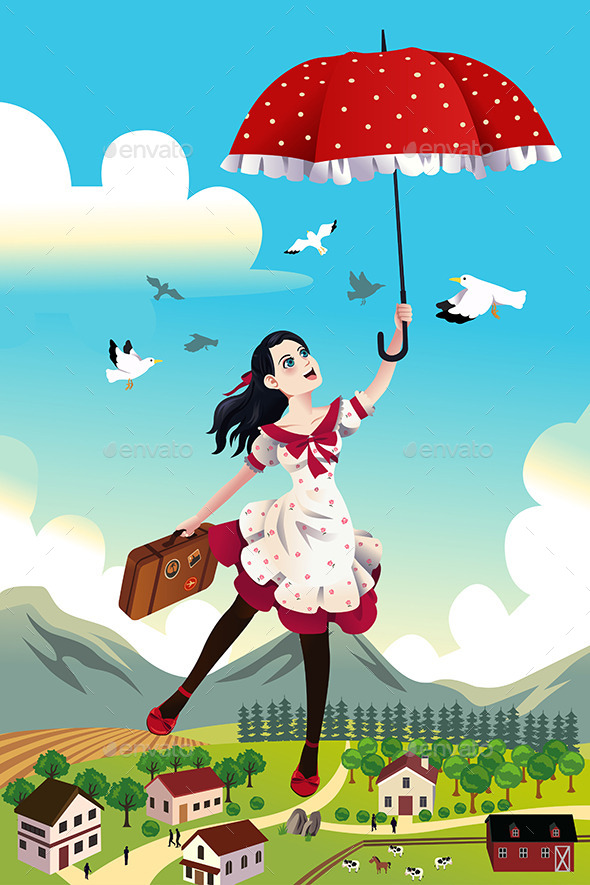 Woman Holding an Umbrella Flying in the Air - Conceptual Vectors