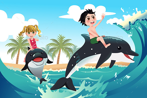 Children Playing with Dolphins  - Conceptual Vectors