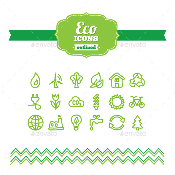 Hand Drawn Eco Icons - Technology Icons