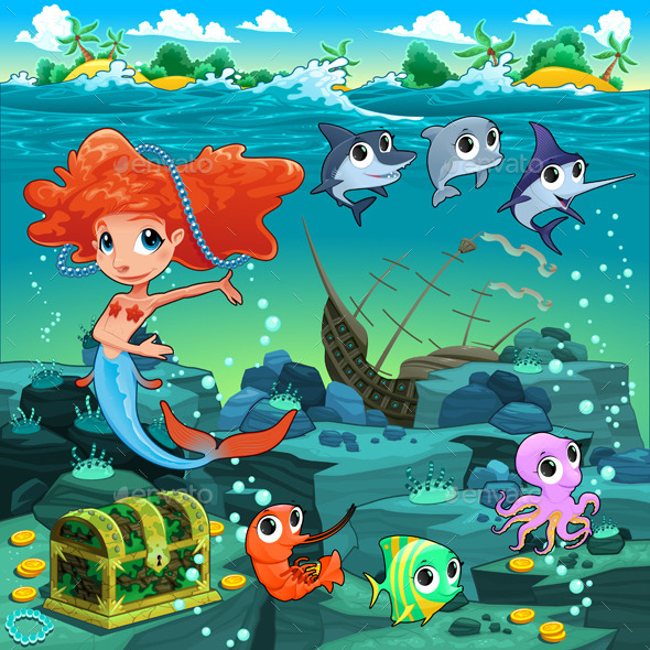 Mermaid with Sea Animals  - Animals Characters
