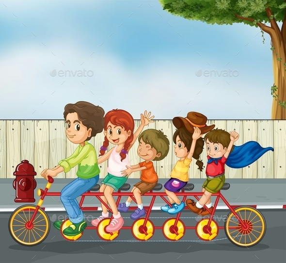 Kids on the Bicycle - People Characters