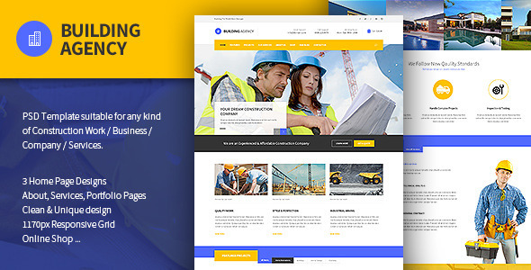 Building Agency -  Blog and Shop PSD - Business Corporate