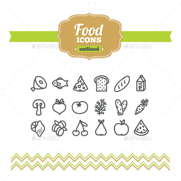 Hand Drawn Food Icons - Food Objects