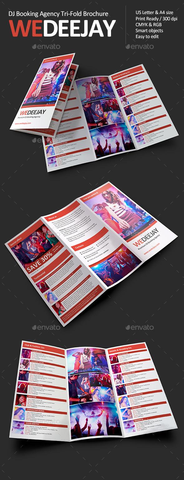 WeDeeJay DJ Booking Agency Tri-Fold Brochure - Informational Brochures
