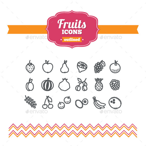 Hand Drawn Fruits Icons - Food Objects