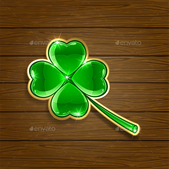 Clover on Wooden Background - Backgrounds Decorative