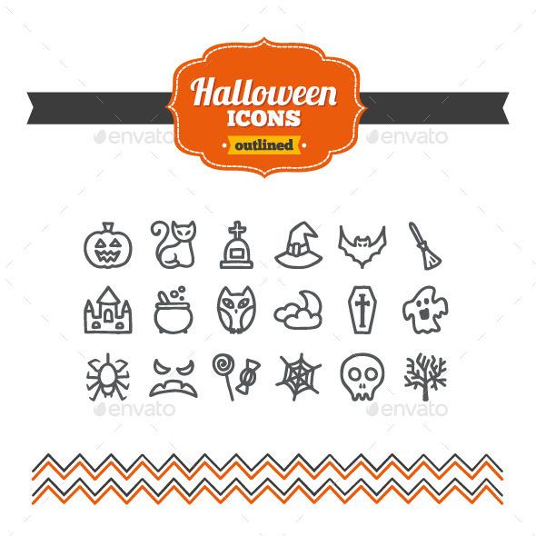 Hand Drawn Halloween Icons - Seasonal Icons