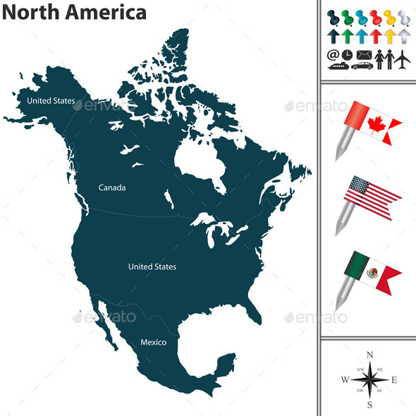 Map of North America - Travel Conceptual