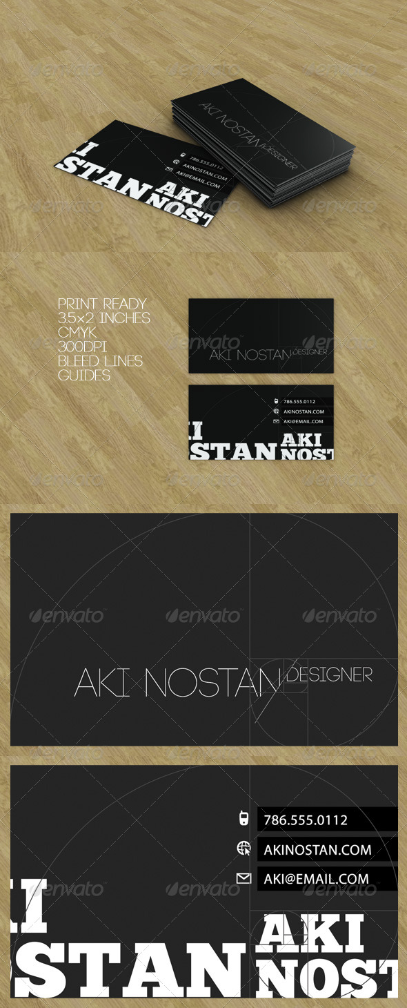Golden Ratio Black Business Card - Creative Business Cards