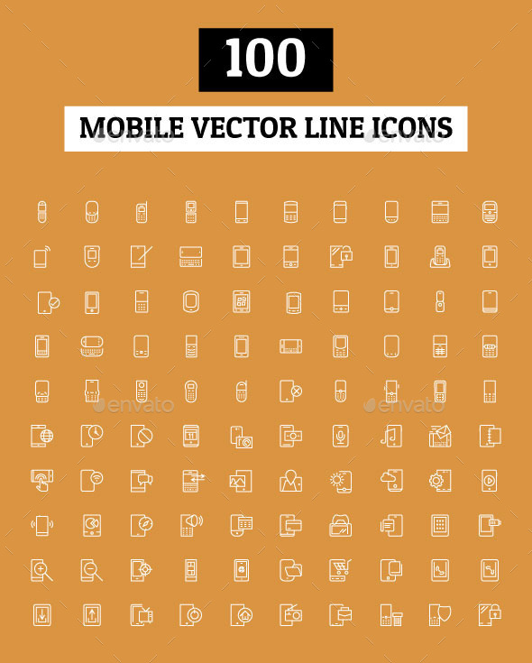 100 Mobile Vector Line Icons - Technology Icons