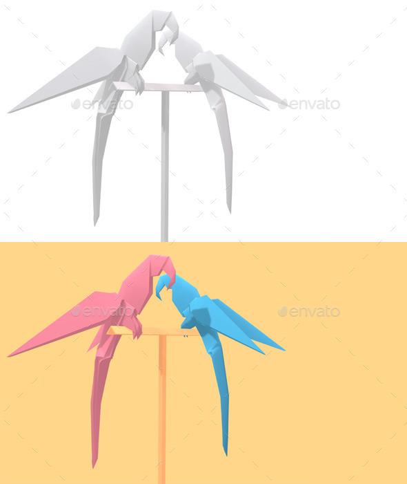 Polygon Origami Parrots