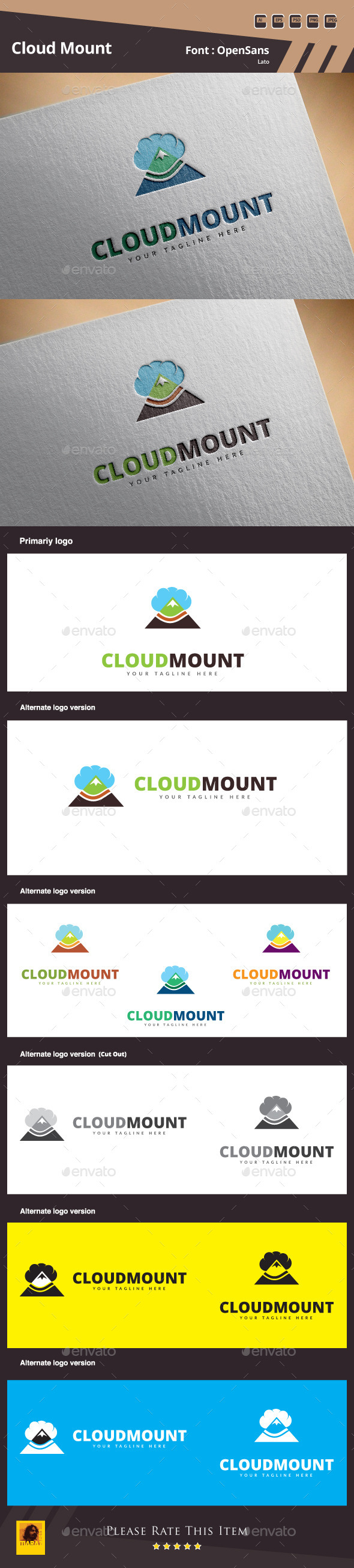 Cloud Mount Logo Template - Buildings Logo Templates