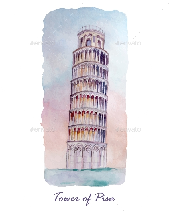 Tower of Pizza Watercolor  - Travel Conceptual