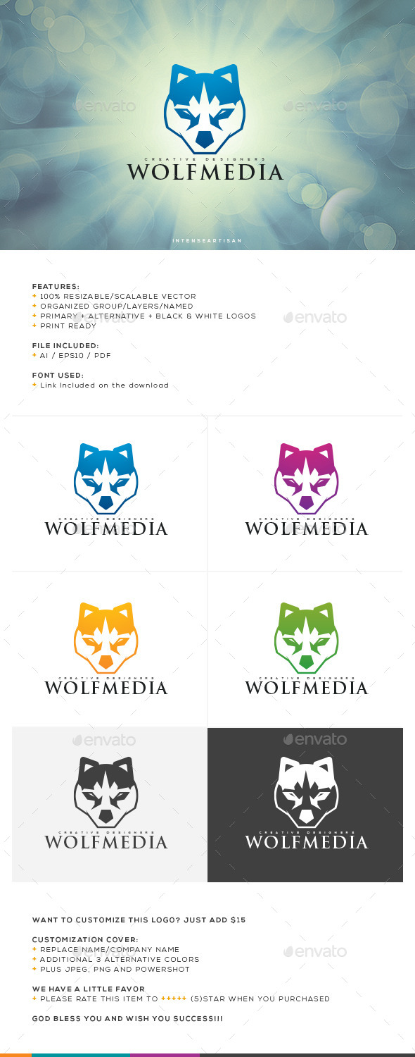 Wolf Media Logo Template