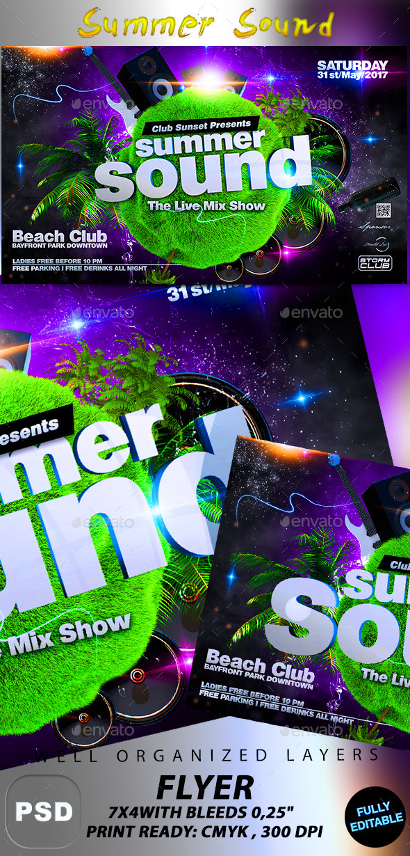 Summer Sound Party Flyer - Events Flyers