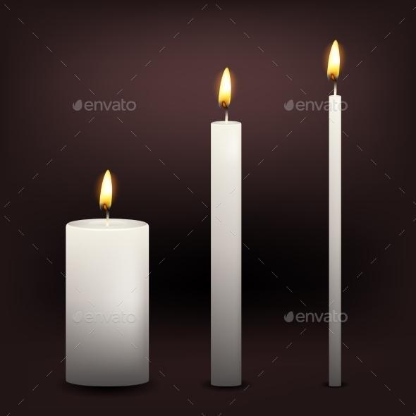 Three Vector White Candles - Religion Conceptual
