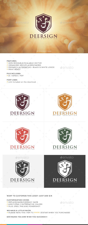 Deer Sign Logo Template - Animals Logo Templates