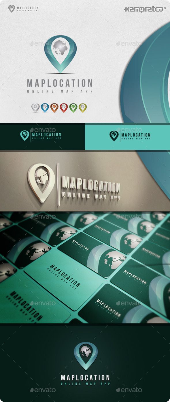 Map Location Logo - 3d Abstract