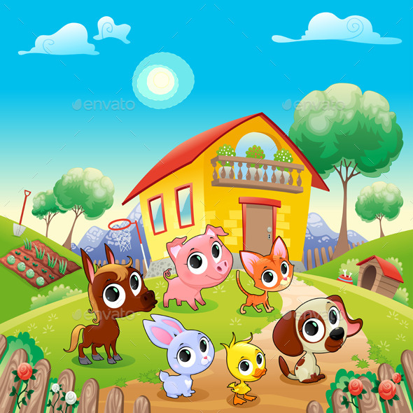 Farm Animals in the Garden - Animals Characters