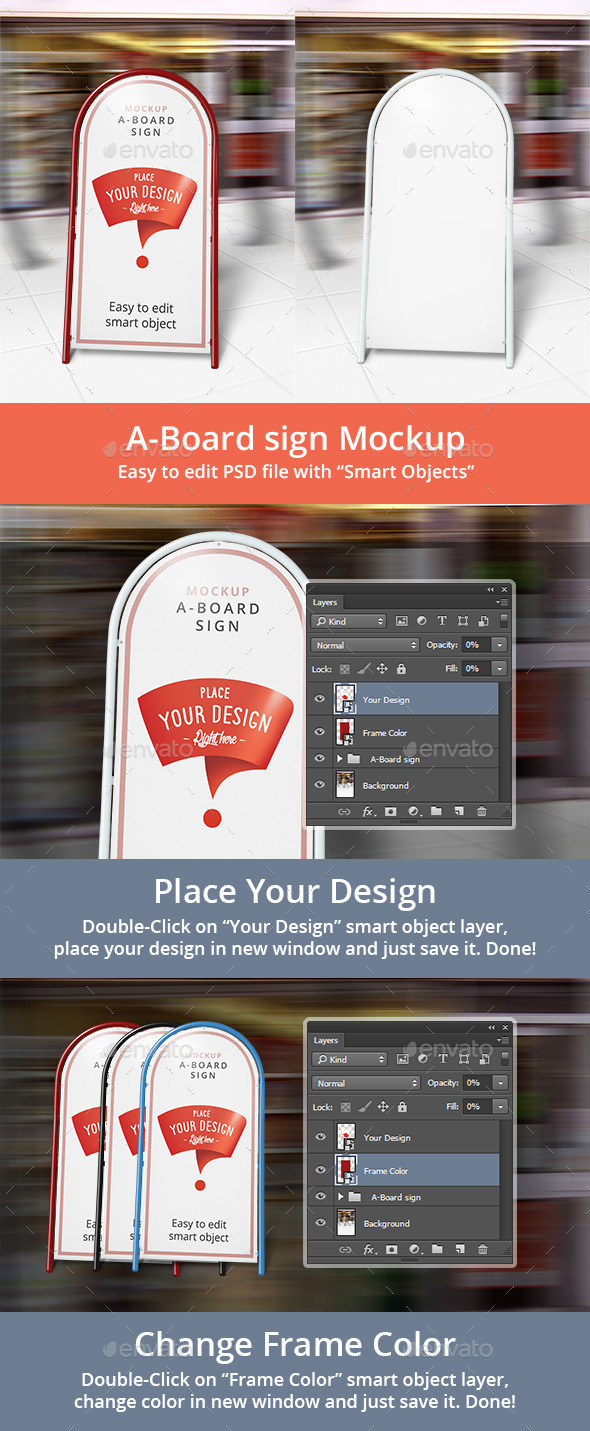 A-Board Sign Mockup - Signage Print