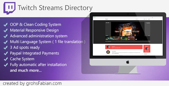 Twitch Streams Directory with Paypal Integration - CodeCanyon Item for Sale