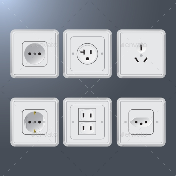 Set of Electrical Outlets for Different Countries - Miscellaneous Vectors