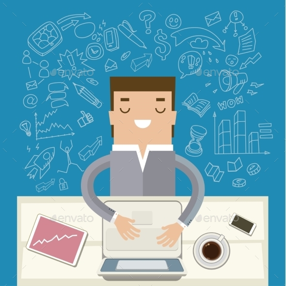 Businessman Working at His Desk - Concepts Business