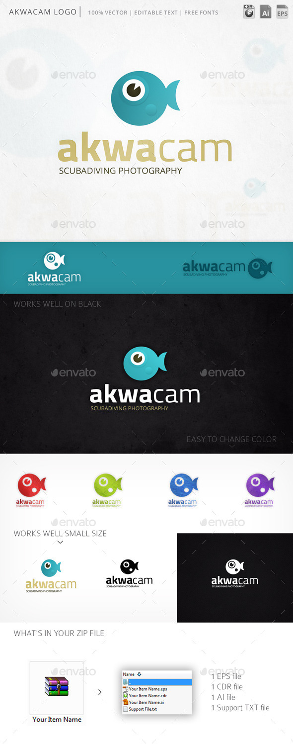 Akwacam Fish Camera Logo Template - Animals Logo Templates