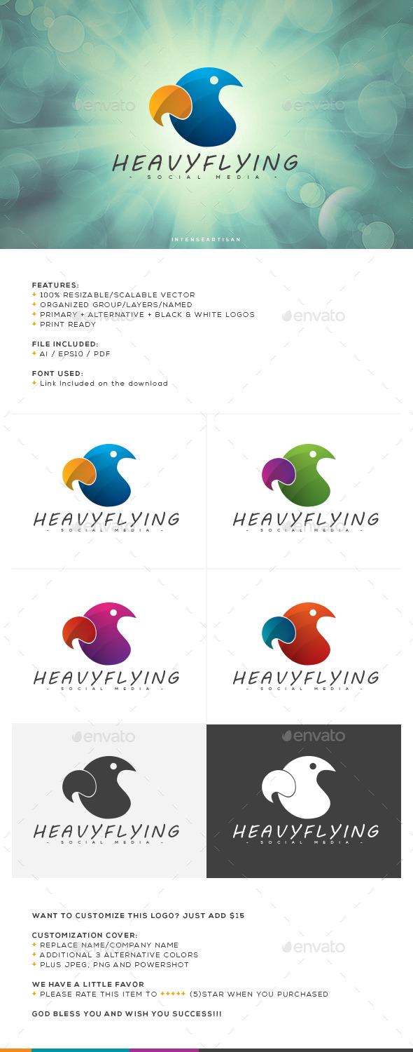 Heavy Flying Logo Template - Animals Logo Templates