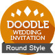 Doodle Vintage Wedding Invitation Postcard (Round) - GraphicRiver Item for Sale
