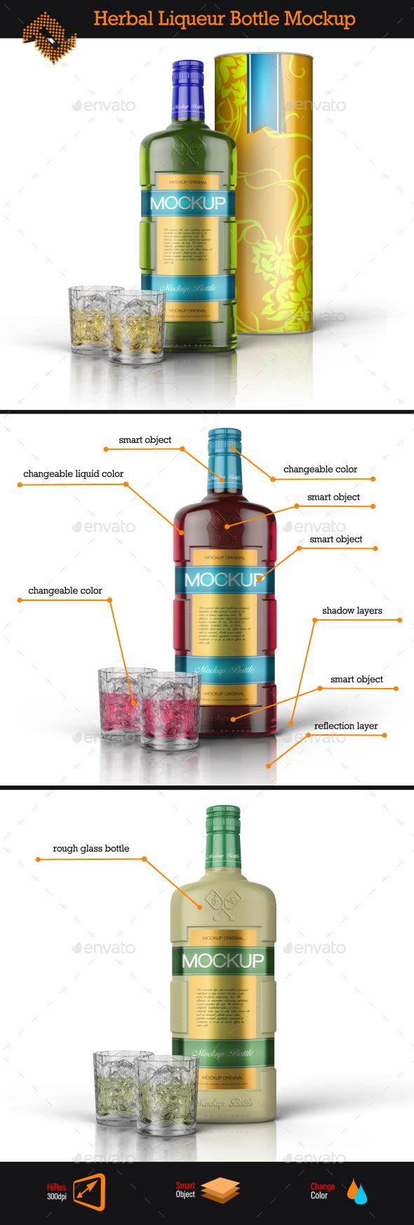 Herbal Liqueur Bottle / Tin Tube Mockup - Food and Drink Packaging