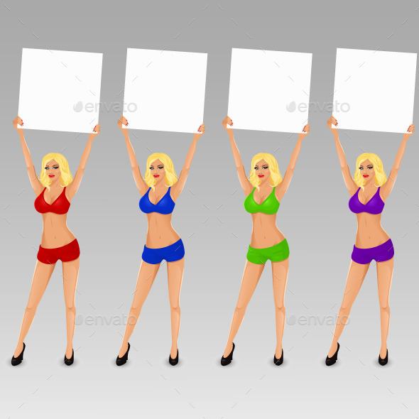 Set of Boxing Ring Girls Holding a Board - Sports/Activity Conceptual