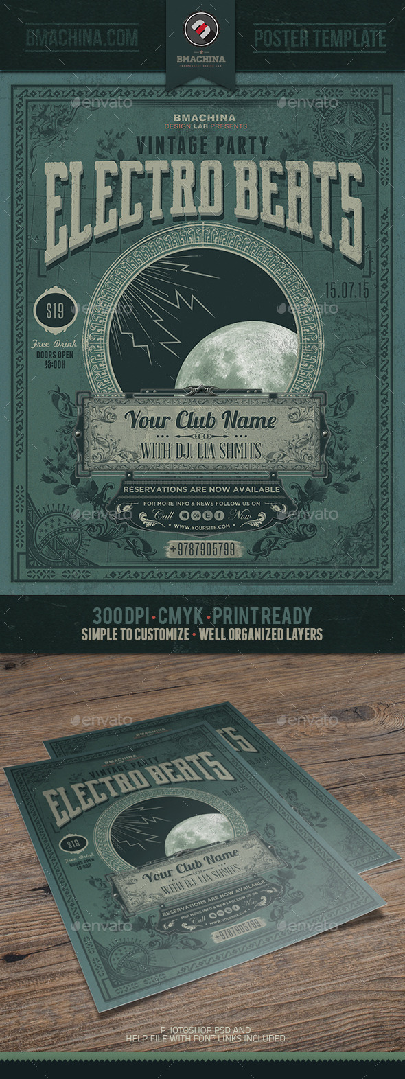 Electro Vintage Beats - Poster Template - Events Flyers