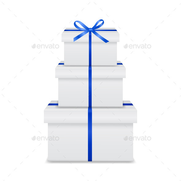 Stack of Gift Boxes with Blue Ribbon and Bow - Miscellaneous Seasons/Holidays