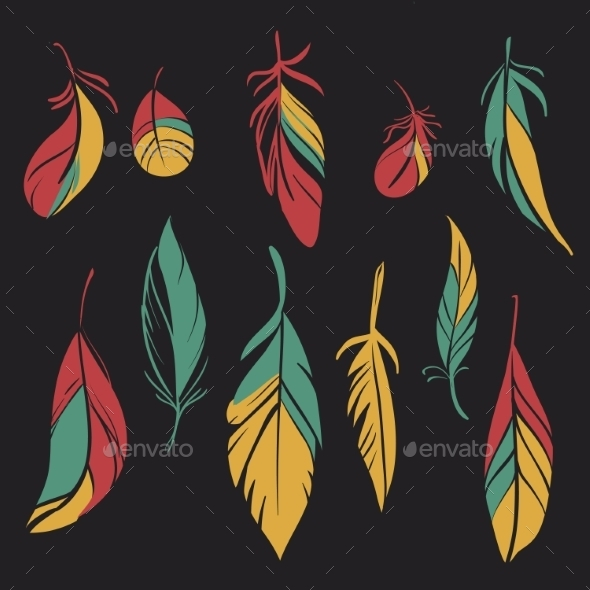 Set of Feathers - Decorative Symbols Decorative