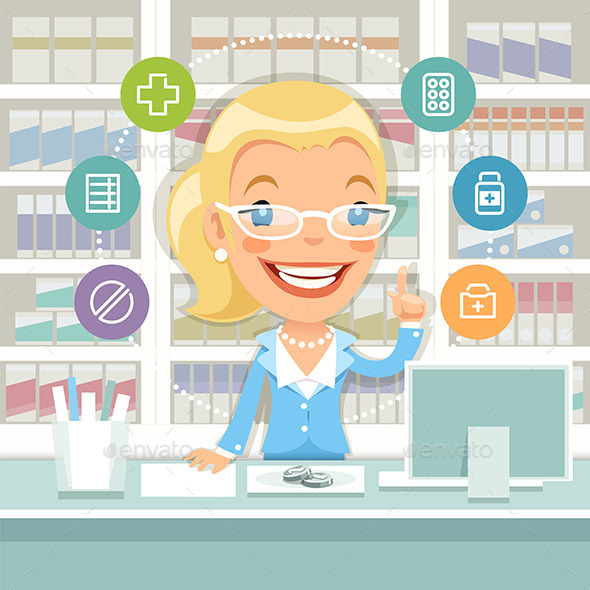 Pharmacist Woman Behind the Counter - Health/Medicine Conceptual