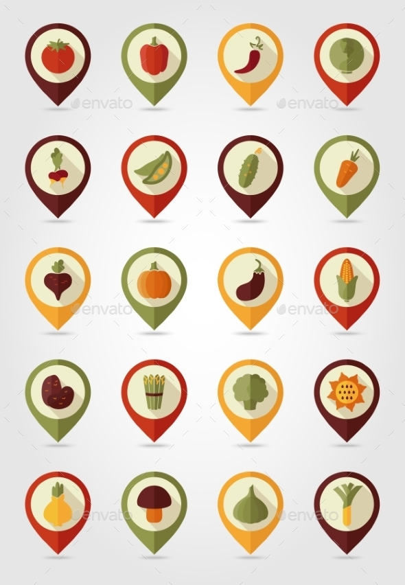Vegetable Mapping Pin Icons - Food Objects