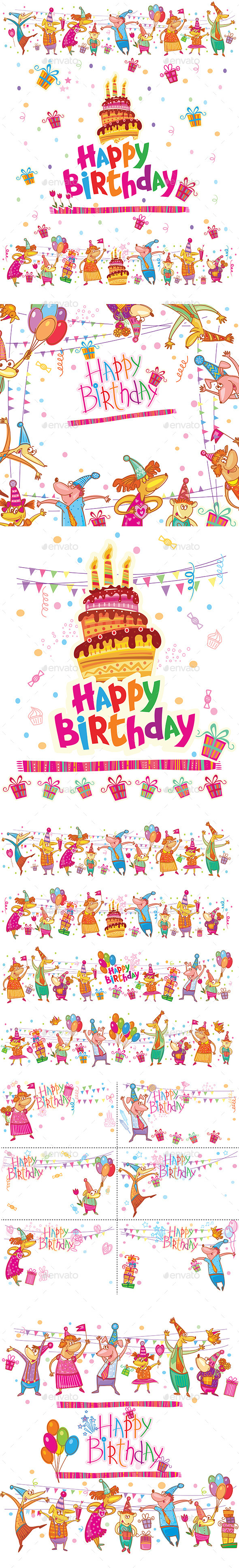 Set of Birthday Greeting Cards  - Birthdays Seasons/Holidays