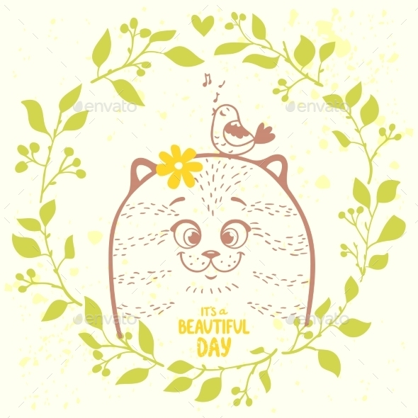 Cat in a Wreath - Animals Characters
